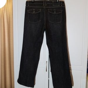 WHBM Blanc Black Bootcut Jean's Sz14 Sequined Pckt